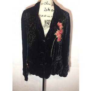 Johnny Was Velvet Embroidered Floral Button Jacket